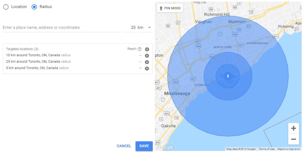 Google radius targeting