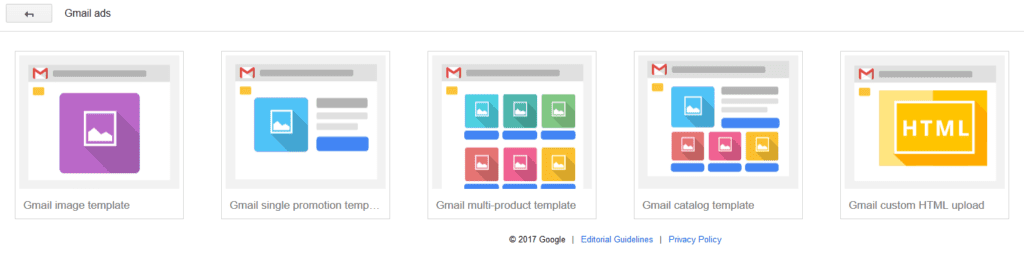 Gmail ad gallery types