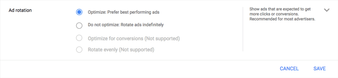 New AdWords ad rotation settings