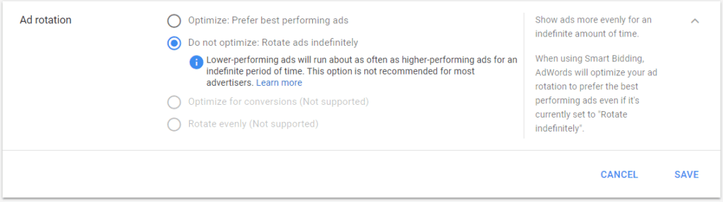 AdWords new ad rotation settings