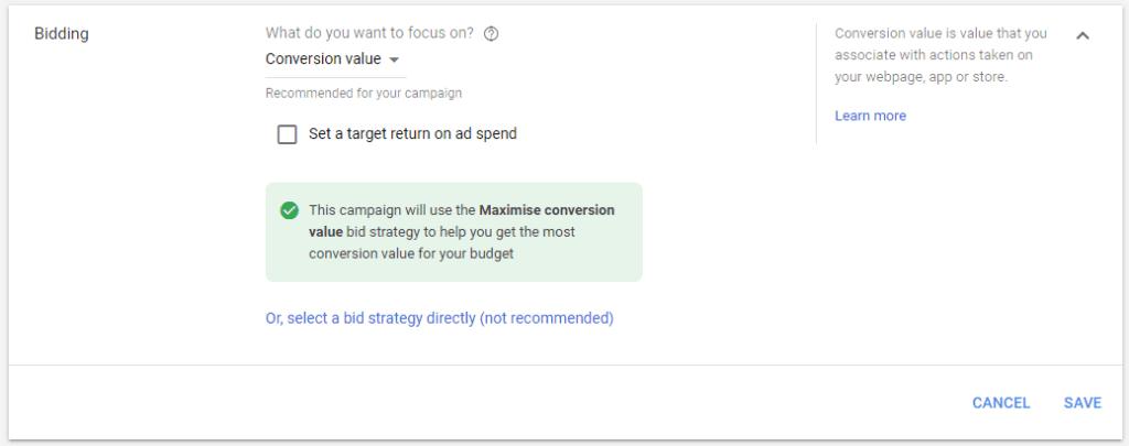 Maximize conversion value bidding