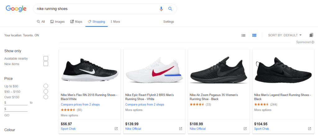 Nike Shopping Results
