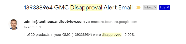 product disapprovals alert