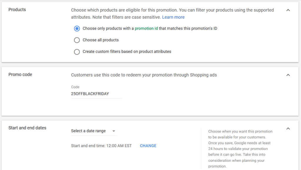 Google Shopping Promotions