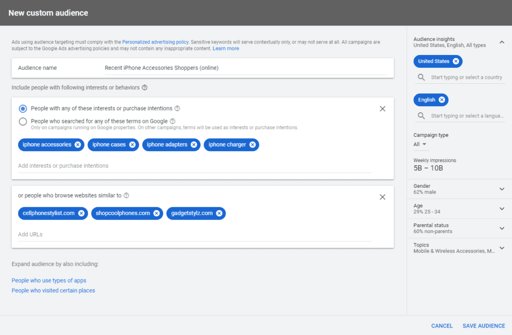 Google Ads custom audience - new ppc features
