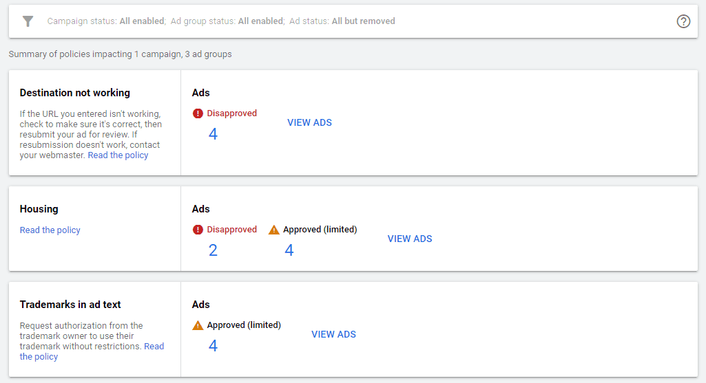 google ads policy manager